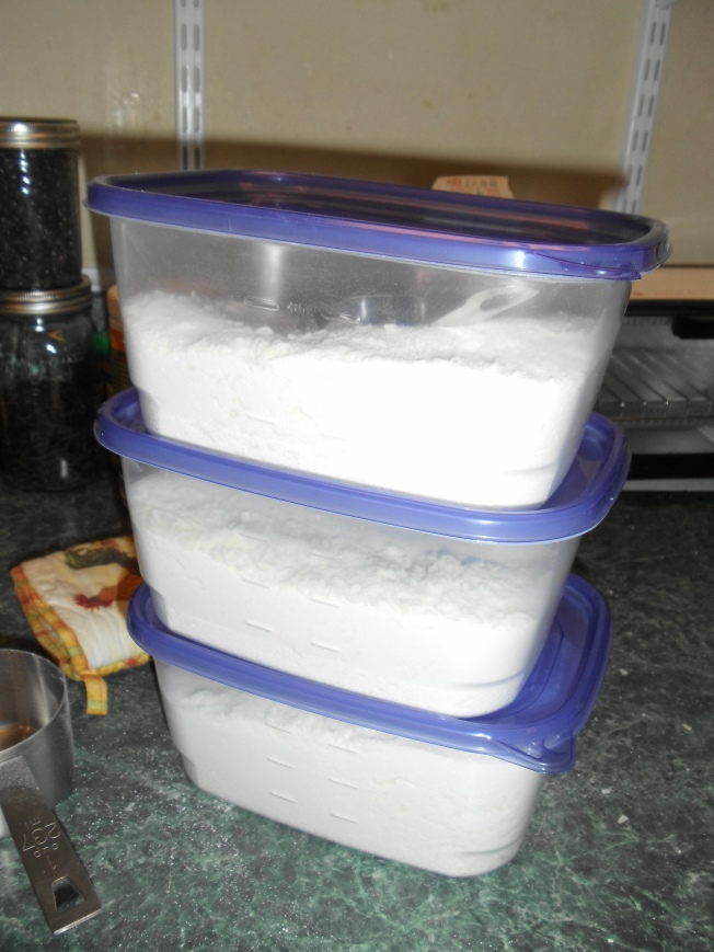 My 2 bars of grated soap, one box of washing soda and one box of Borax was enough to make 3 containers of laundry soap and still have a little Borax and grated soap left over.